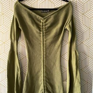Green over the shoulder sweater dress